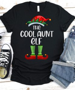 Christmas Cool Aunt Elf Funny Matching Family Xmas T Shirt