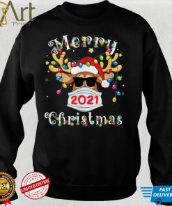 Funny Reindeer In Mask Shirt Merry Christmas 2021 Kid, Adult T Shirt