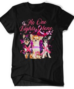 no one fight alone chihuahua breast cancer awareness shirt